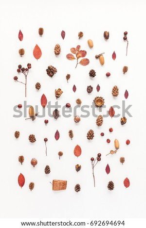 Autumn composition. Pattern made of autumn leaves, acorn, pine cones. Flat lay, top view