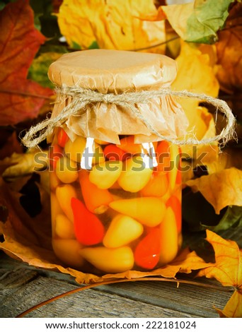 Autumn concept. Preserved food in glass jar on a wooden board. Marinated hot pepper - stock photo