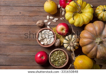 Autumn concept with seasonal fruits