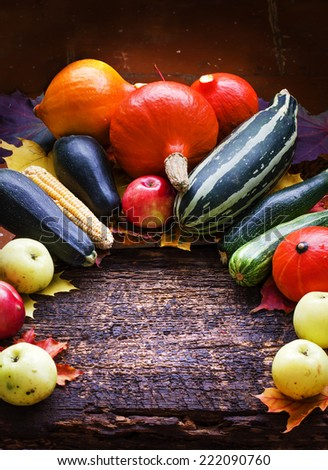 Autumn concept with seasonal fruits and vegetables/organic food background; Autumn harvest with Farmers Vegetable fruits on dark wooden background/Thanksgiving day concept - stock photo