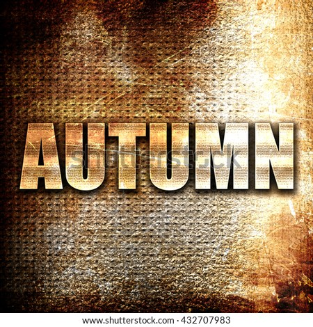 autumn, 3D rendering, metal text on rust background