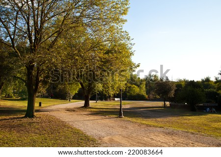 Autumn day in a city park in Rome - stock photo