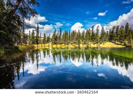 Autumn day in Jasper National Park in the Rocky Mountains of Canada. Adorable little lake. Coniferous forest is reflected in the mirrored water - stock photo