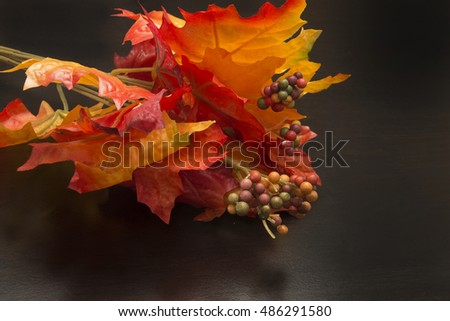 Autumn Decoration on a black surface/Fall Time/Orange and yellow foliage