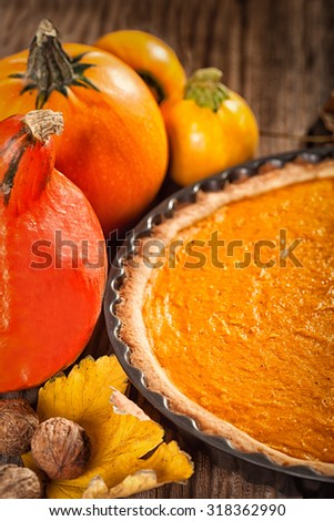 Autumn decoration with leaves and pumpkins - vintage look