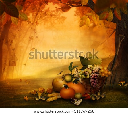 Autumn design - Season fruit in forest. Autumn valley with pumpkins, grapes, mushrooms, vor,acorns, chestnut. Falling leaves and bird house in he background.   Fall background concept with copyspace. - stock photo