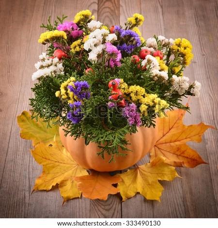 Autumn flower arrangement stock photos royalty free for Autumn flower decoration