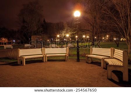 Autumn evening in a city park Kadriorg, Tallinn - stock photo