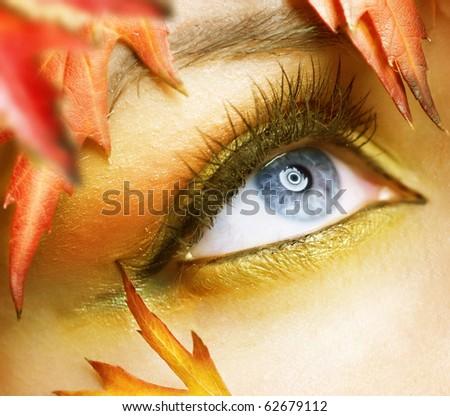 Autumn eyes Makeup - stock photo