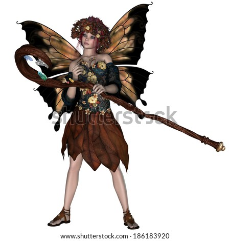 Autumn Fairy - A fairy is a mythical creature of folklore and mystery dressed in the colors of Autumn.