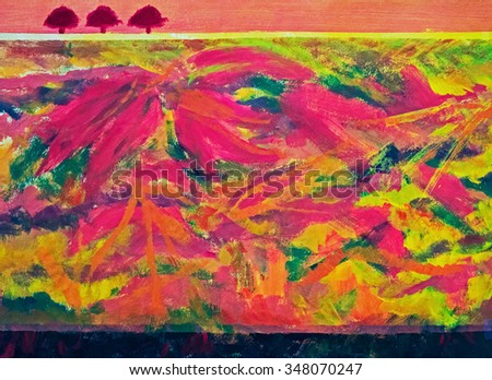 Autumn, fall impressions abstract painting. Leaves, trees