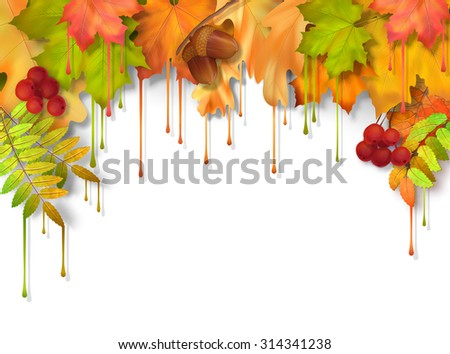 Autumn fall leaves with dripping paint, artistic border design on a white background - stock photo