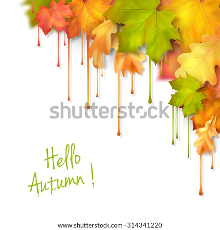 Autumn fall leaves with dripping paint, artistic corner design on a white background - stock photo