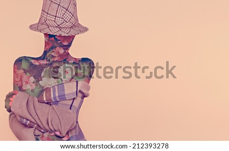 Autumn fashion woman.Flower and plaid style  - stock photo