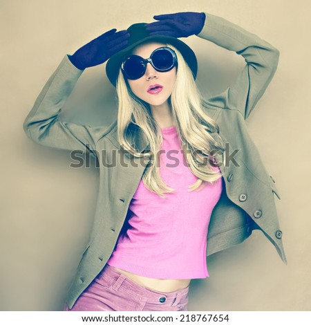 Autumn fashion woman in stylish image - stock photo