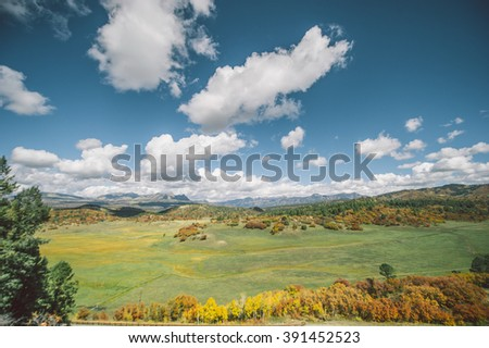 Autumn field landscape with green grass orange trees and cloudy blue sky