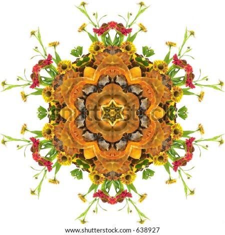 autumn floral mandala with flowers and pumpkin