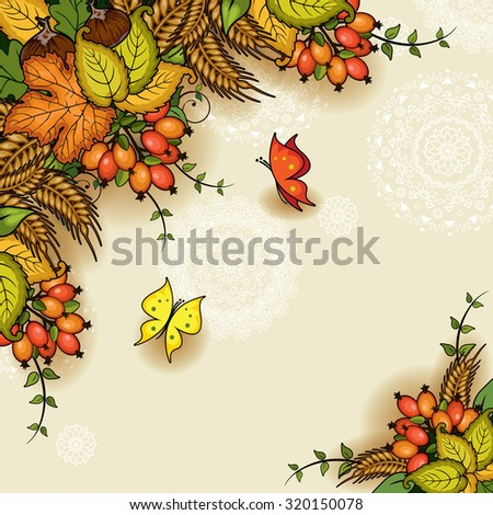 Autumn floral with space to insert your own text - stock photo