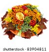 autumn flower composition isolated on white background - stock photo