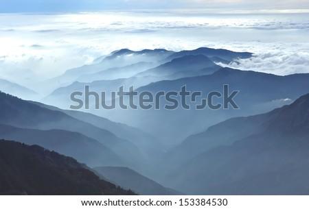 Autumn foggy landscape in high latitude Mountains - stock photo
