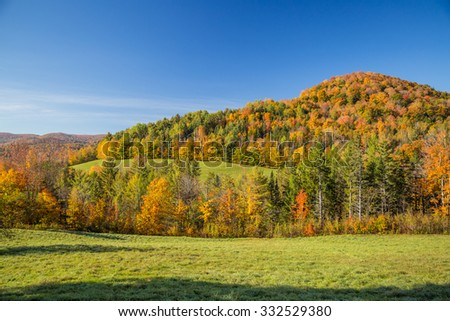 Autumn foliage in Vermont countryside - stock photo