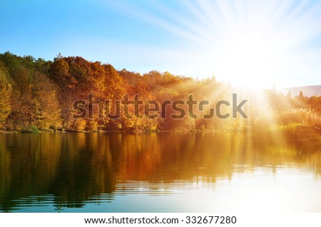 Autumn forest reflected  in the water, illuminated by bright rays of the golden sun.  - stock photo