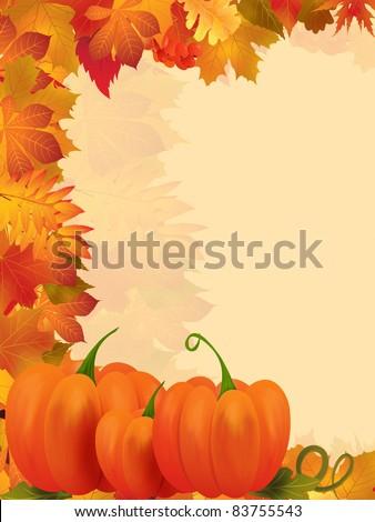 Autumn frame illustration - stock photo