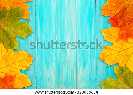 Autumn frame made of fallen leaves and a blue board - stock photo