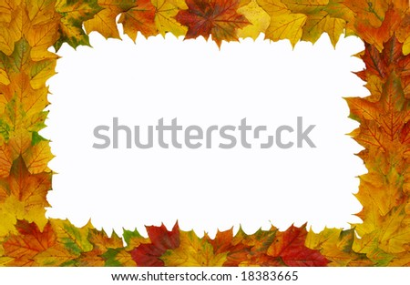 Autumn frame on a white background
