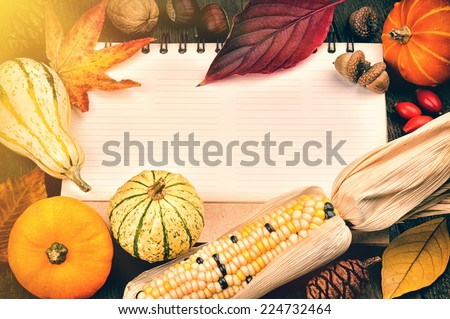 Autumn frame with copyspace and seasonal vegetables - stock photo