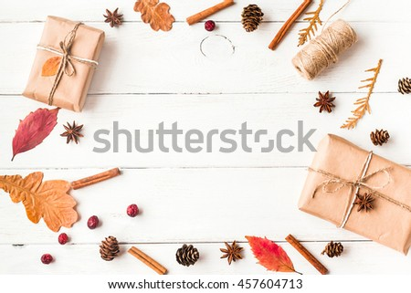 autumn frame with gift, autumn leaves, cinnamon sticks, anise stars, cones and dried cranberry,  top view, flat lay