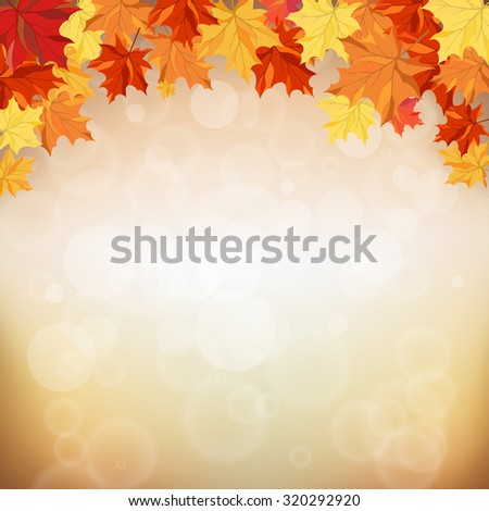 Autumn frame with maple leaves.  Raster illustration. - stock photo