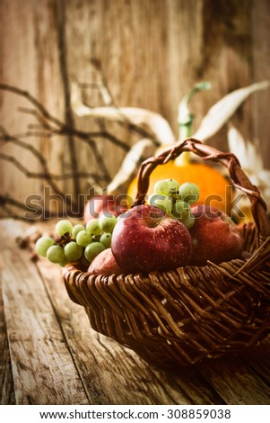 Autumn fruit background. Autumn Thanksgiving seasonal fruit. Nature background - stock photo