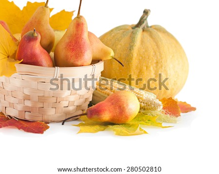 Autumn fruits and vegetables in a basket. The harvest season - stock photo