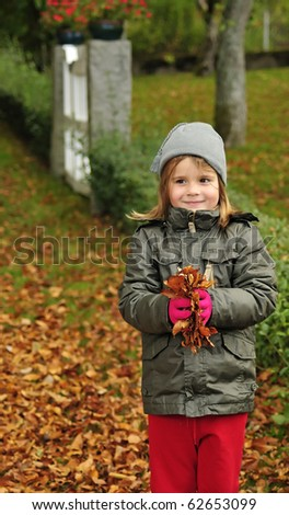 Autumn fun with list - stock photo