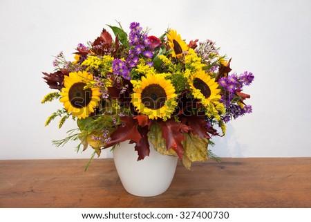 autumn garden flower bouquet - stock photo