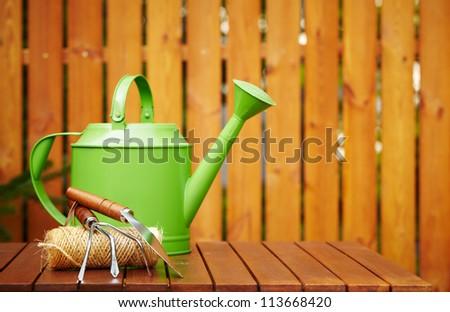 autumn gardening tools - stock photo
