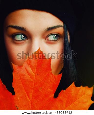 Autumn girl - stock photo
