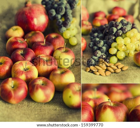 autumn grape, pomegranate and apple fruits on wool background collage concept