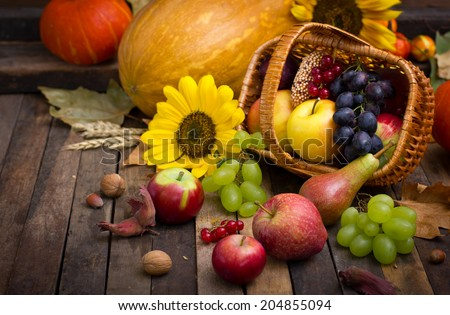 Autumn harvest - fresh fruits in the basket - stock photo