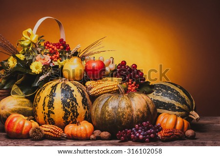 Autumn harvest of vegetables and flowers on the table. The composition of pumpins, corn, grapes, pears and apples. - stock photo