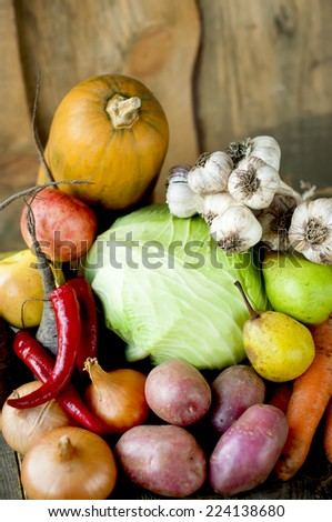 Autumn harvest on wooden boards