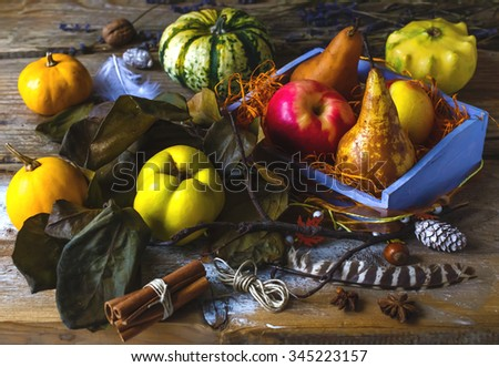 Autumn harvest still life with pumpkins and fruits