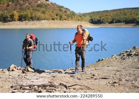 Autumn hike. - stock photo