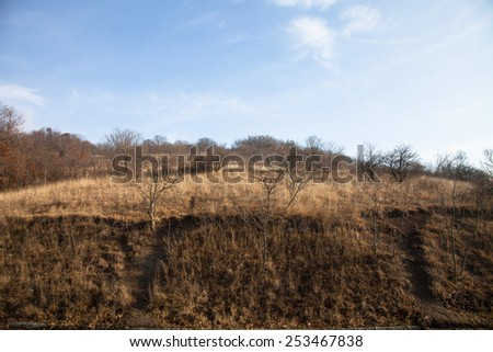 Autumn hilly landscape. Clear blue sky. - stock photo