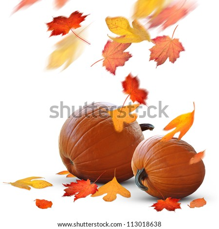 Autumn holidays scene of ripe pumpkins and falling leaves - stock photo