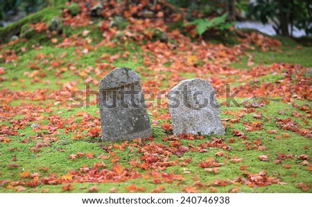 autumn hue leaves with the japanese statue in Kyoto, Japan - stock photo