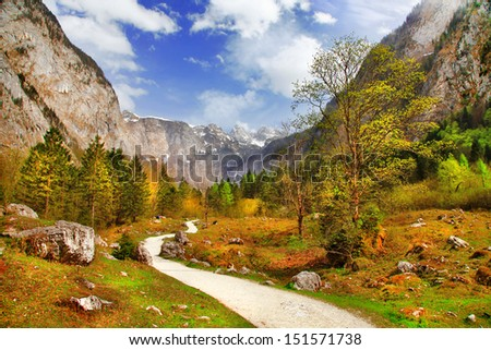 autumn in Alps, Bavaria - stock photo