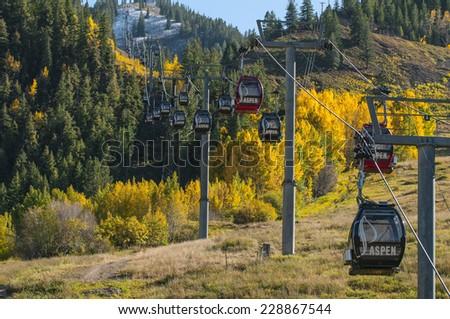 Autumn in Aspen Colorado Gondola Ski Lift - stock photo
