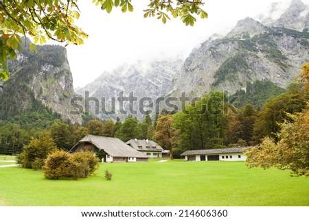 autumn in Bavarian Alps of Europe - stock photo